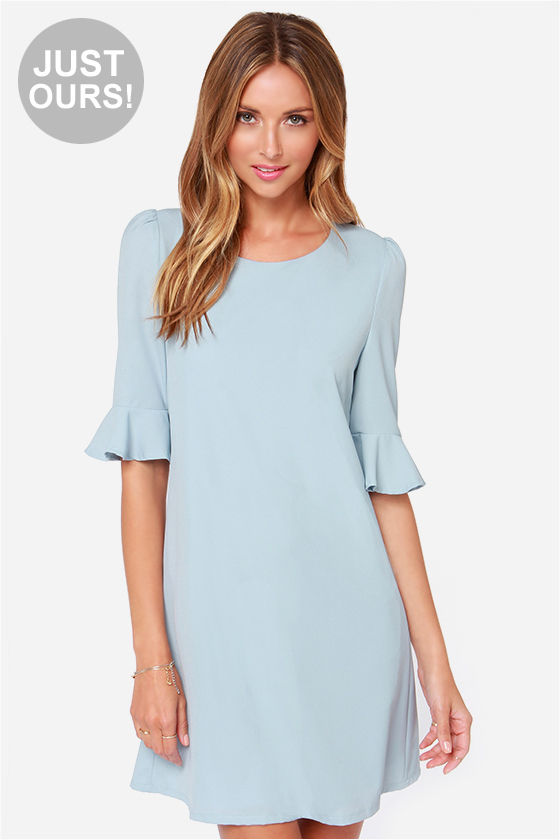 Light Blue Dress - Shift Dress - Short Sleeve Dress - $43.00