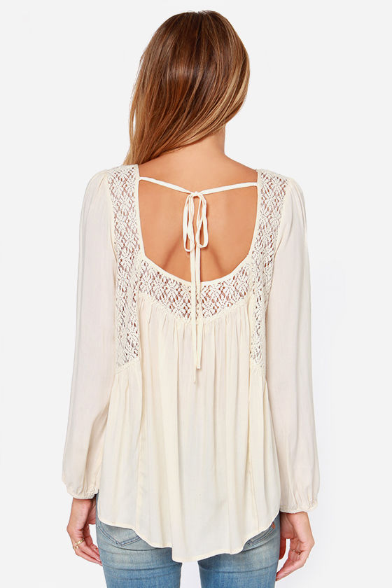Upper Echelon Cream Lace Top at Lulus.com!