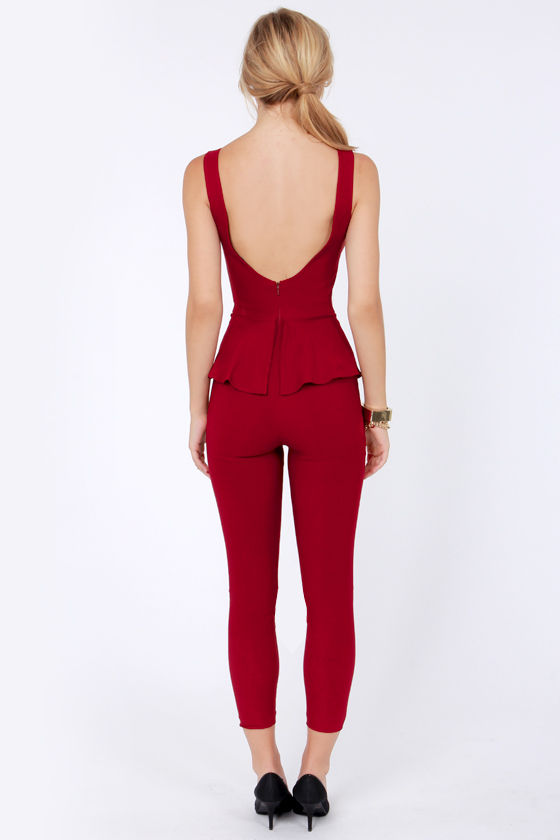 Suit Right Up Wine Red Jumpsuit at Lulus.com!