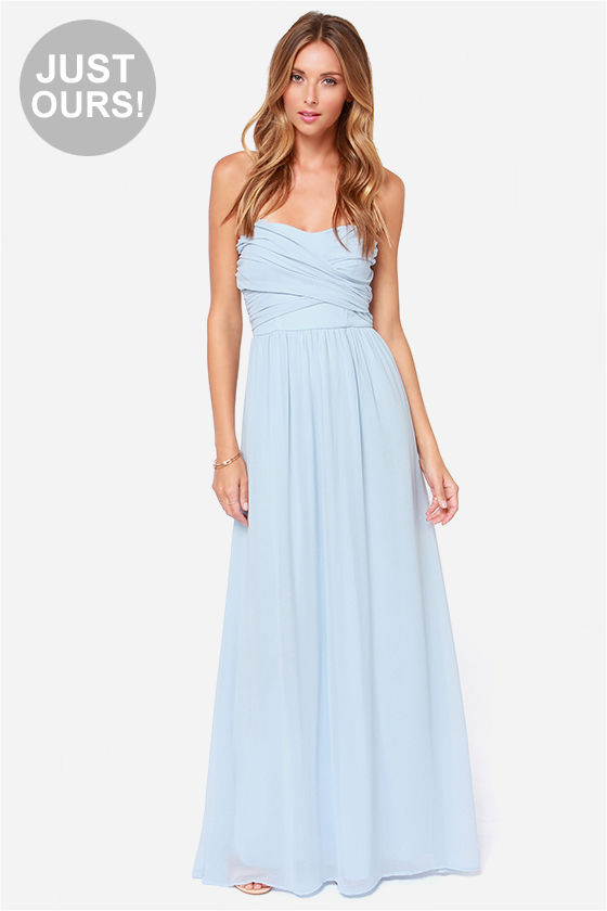 04aa615dae LULUS Exclusive Royal Engagement Strapless Light Blue Maxi Dress