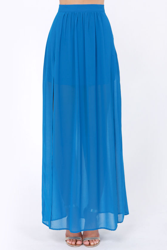 Going the Distance Blue Maxi Skirt at Lulus.com!