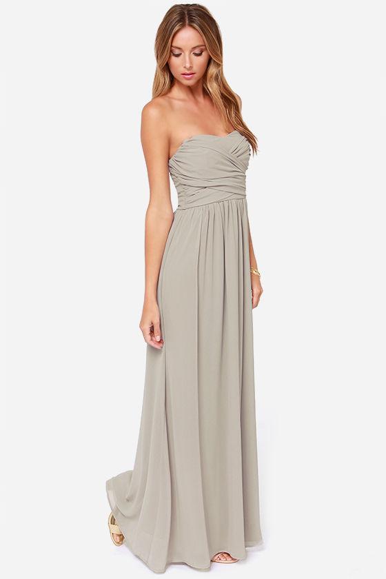Grey Maxi Dress - Strapless Dress - Maxi Dress - $68.00
