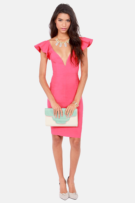 Ruffles Away Coral Pink Bodycon Dress at Lulus.com!