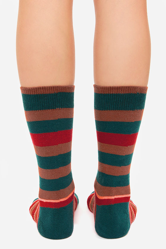 Stance Charlie Teal Striped Socks at Lulus.com!