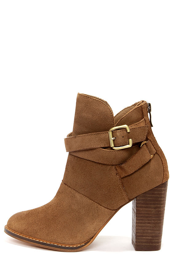 3289ded4c3 Chinese Laundry Zip It Dark Camel Suede Leather Booties -  129.00
