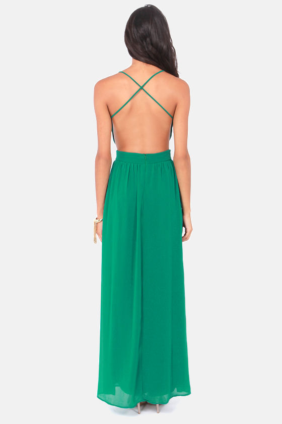 LULUS Exclusive Rooftop Garden Backless Emerald Green Dress at Lulus.com!