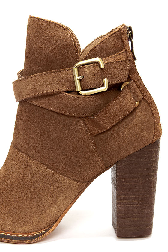 Chinese Laundry Zip It Dark Camel Suede Leather Booties at Lulus.com!