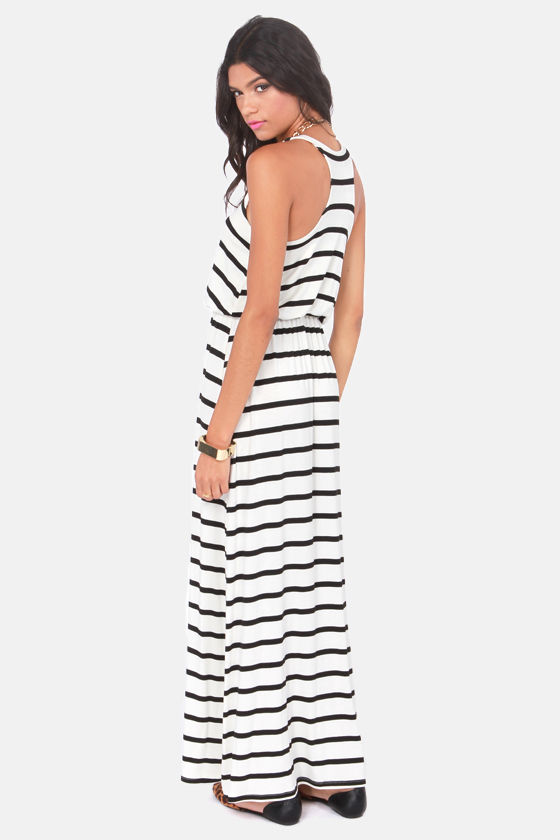 Green Thumb Black and Ivory Striped Maxi Dress at Lulus.com!