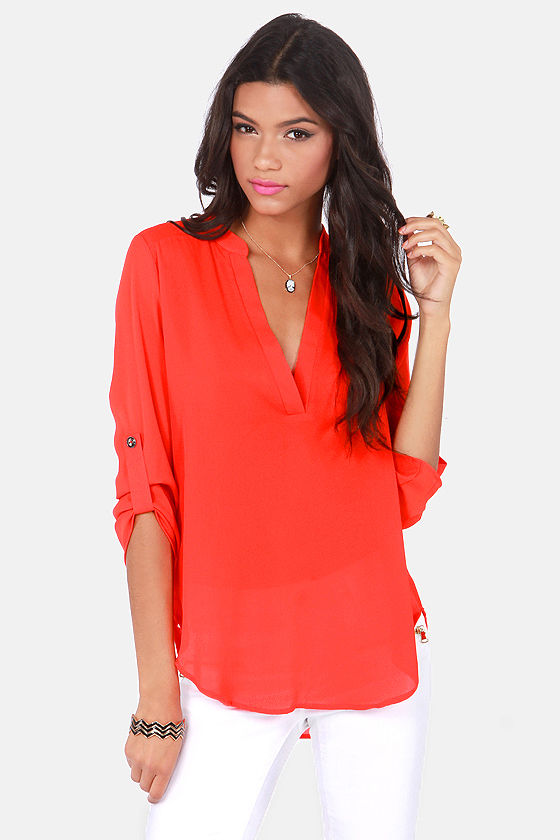 e976c82cd1 Cute Red Top - Coral Top - V Neck Top -  37.00