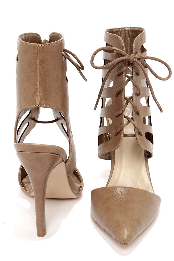 My Delicious Tremor Taupe Cutout Pointed Toe Booties at Lulus.com!