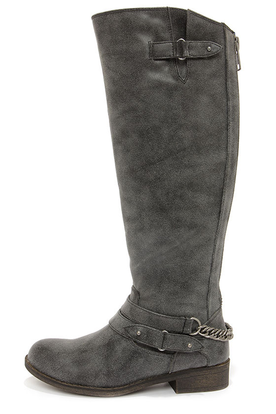 Madden Girl Caanyon Black Burnished Knee High Boots at Lulus.com!