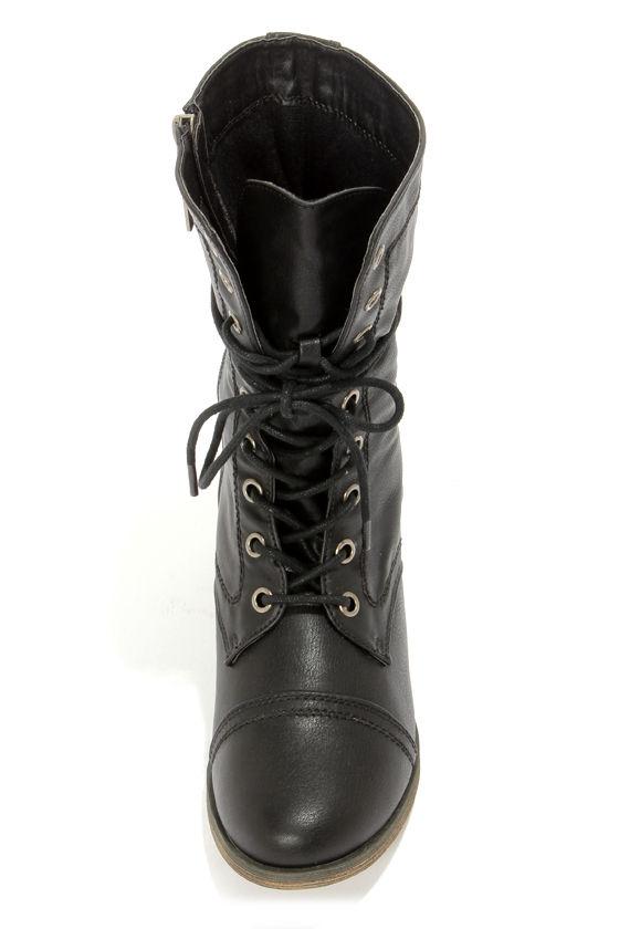 Georgia 72 Black Lace-Up Combat Boots at Lulus.com!