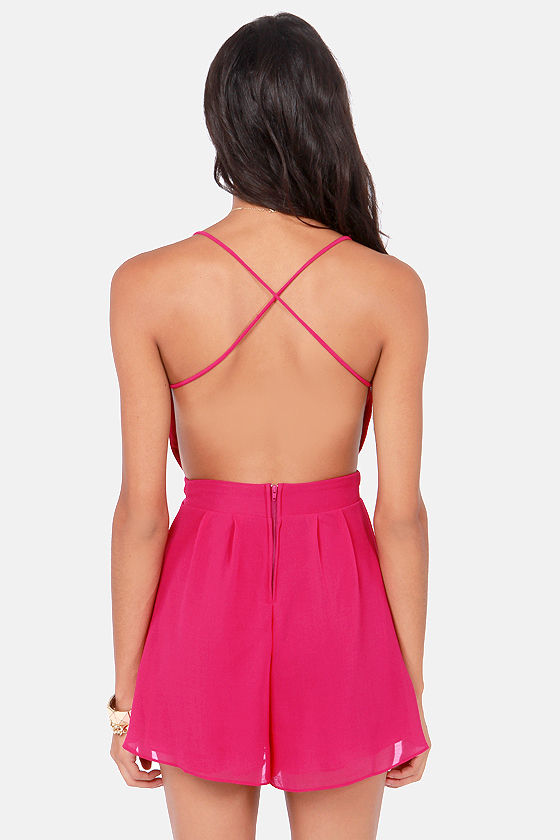 Sealed With a Kiss Backless Fuchsia Romper at Lulus.com!
