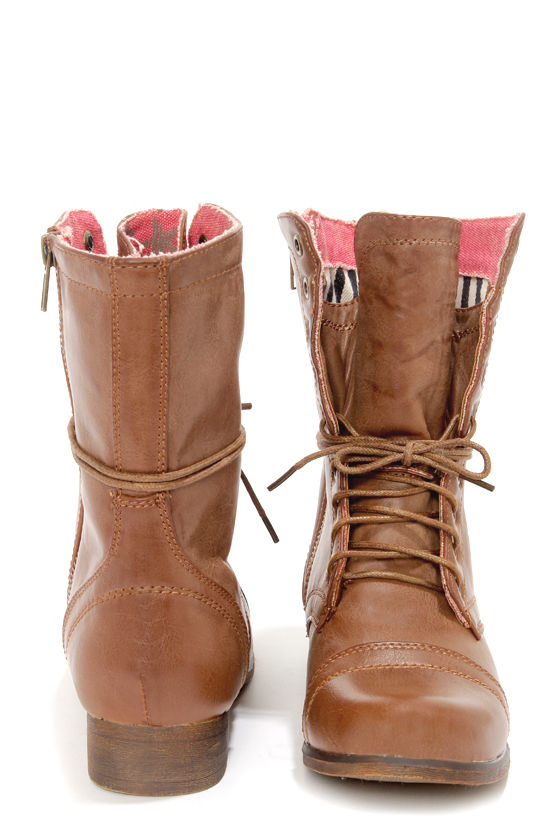 Madden Girl Gamer Tan Lace-Up Combat Boots - $59.00