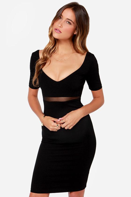 Don't Mesh Around Black Midi Dress