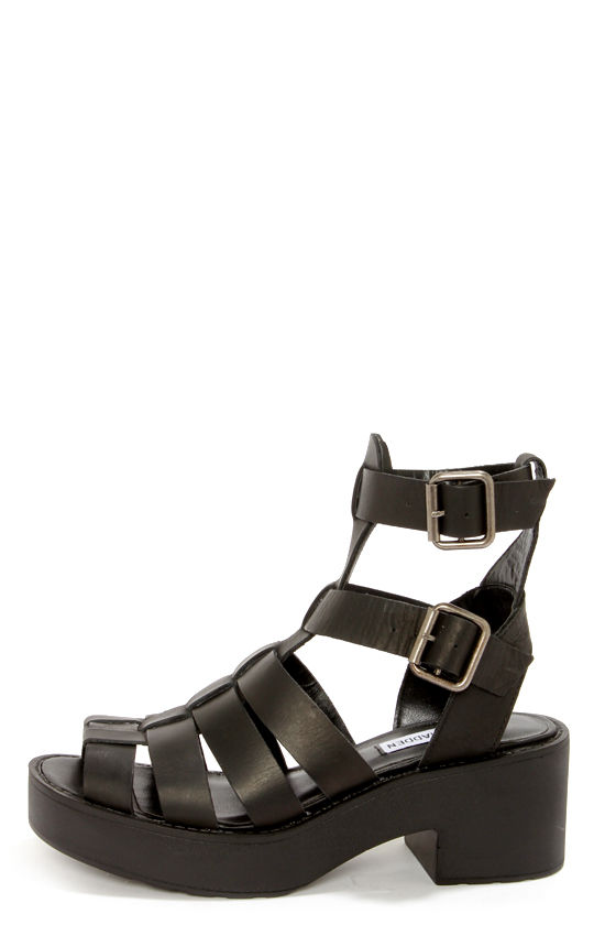 Steve Madden Schoolz Black Leather Caged Platform Sandals -  79.00