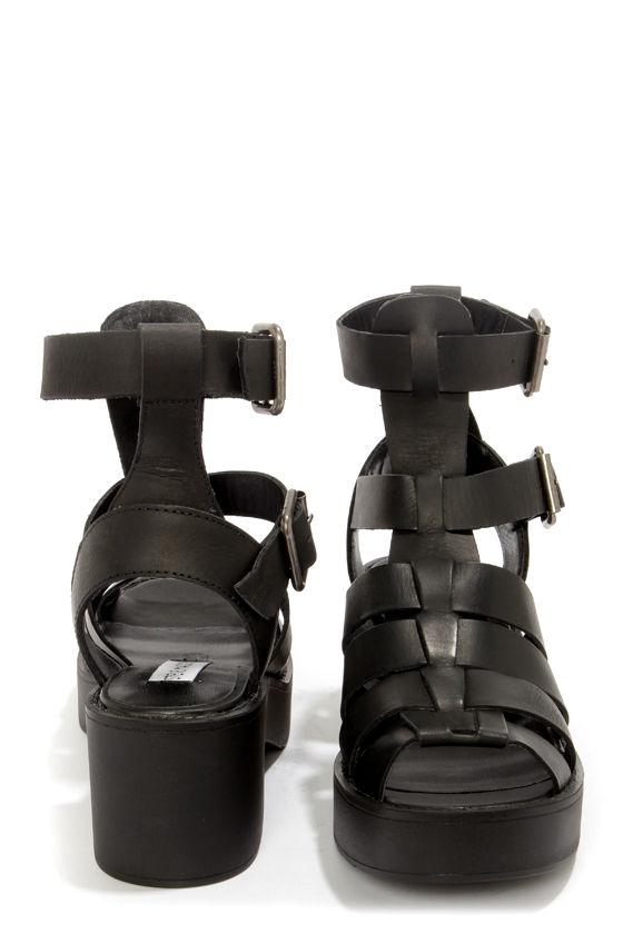 52b1d6871e0 Steve Madden Schoolz Black Leather Caged Platform Sandals -  79.00