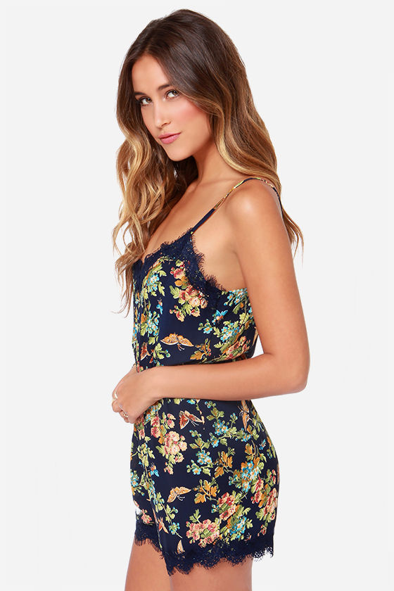 Smooth as Butterflies Navy Blue Print Romper at Lulus.com!