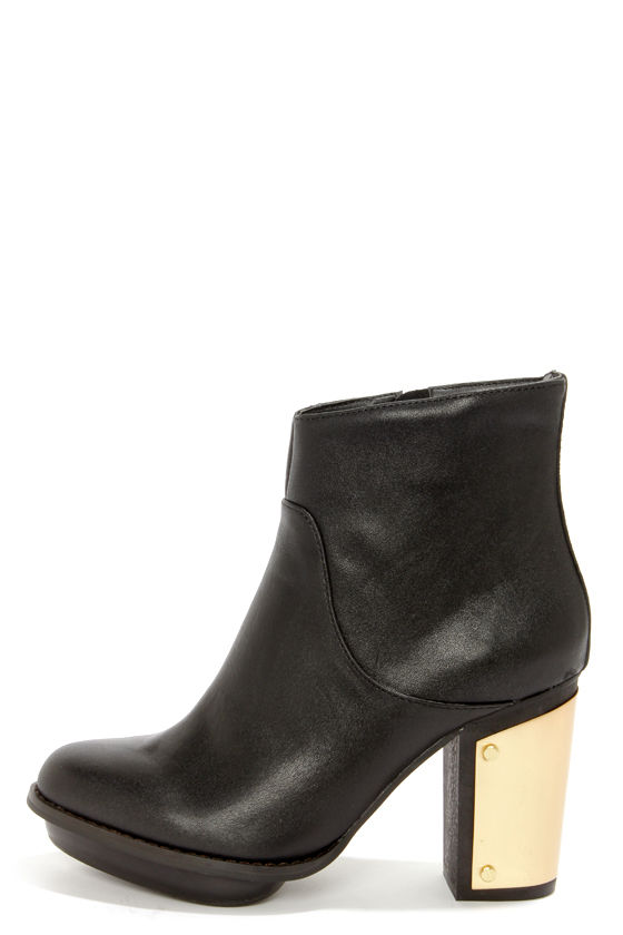 Black Leather Gold-Plated Ankle Booties