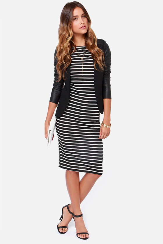Black Striped Dress - Bodycon Dress - Midi Dress - $336.00