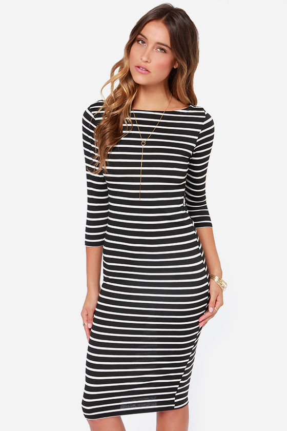 0ff63b8d5ecc Black Striped Dress - Bodycon Dress - Midi Dress -  336.00