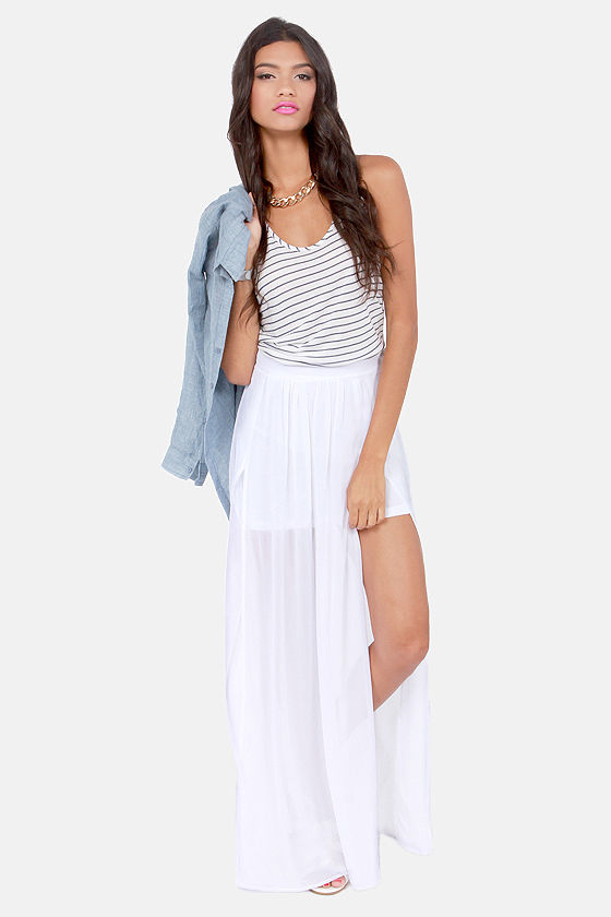 Cute White Skirt - Maxi Skirt - Slit Skirt - High-Waisted Skirt ...