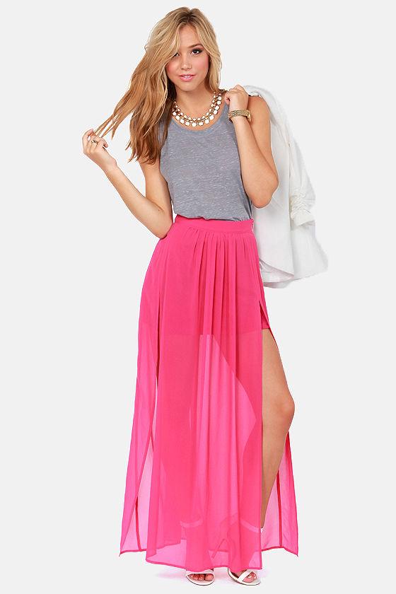 Cute Pink Skirt - Maxi Skirt - Slit Skirt - High-Waisted Skirt ...
