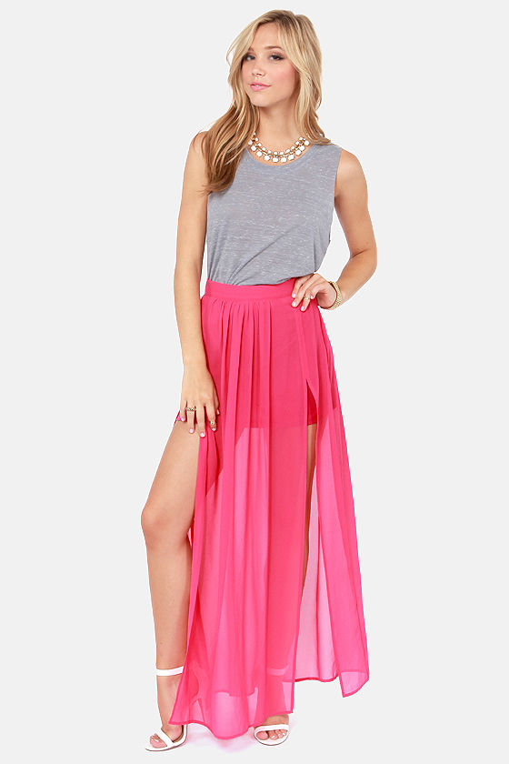 Going the Distance Pink Maxi Skirt at Lulus.com!