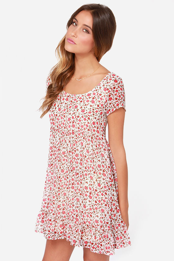 Others Follow Pacify Ivory Floral Print Dress at Lulus.com!