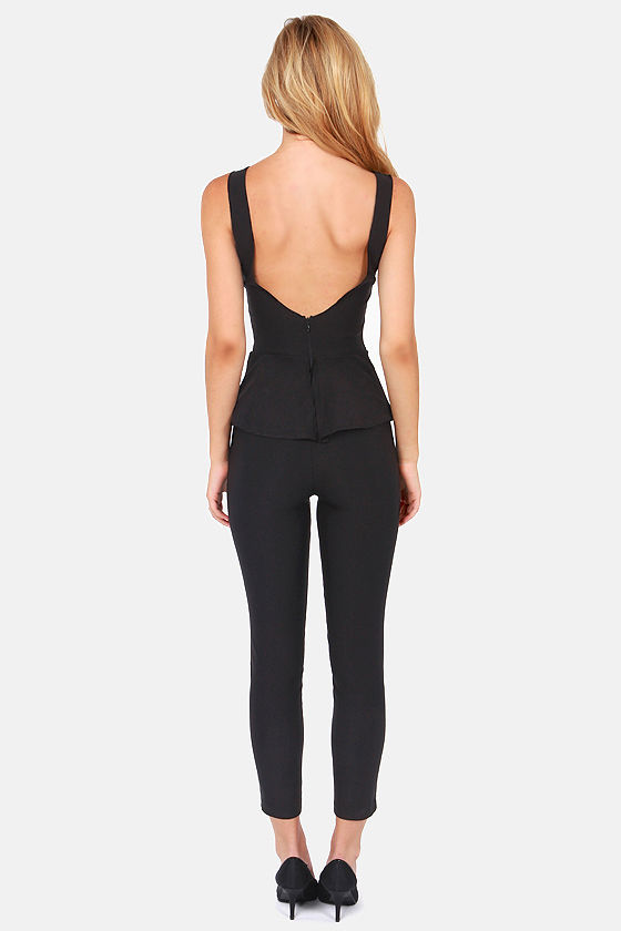 Suit Right Up Black Jumpsuit at Lulus.com!
