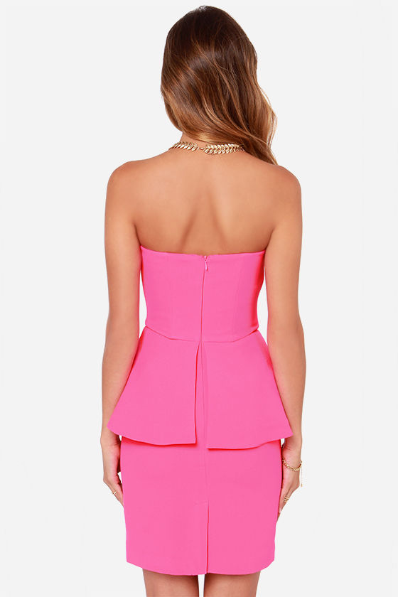 Finders Keepers Nightlight Hot Pink Strapless Dress at Lulus.com!