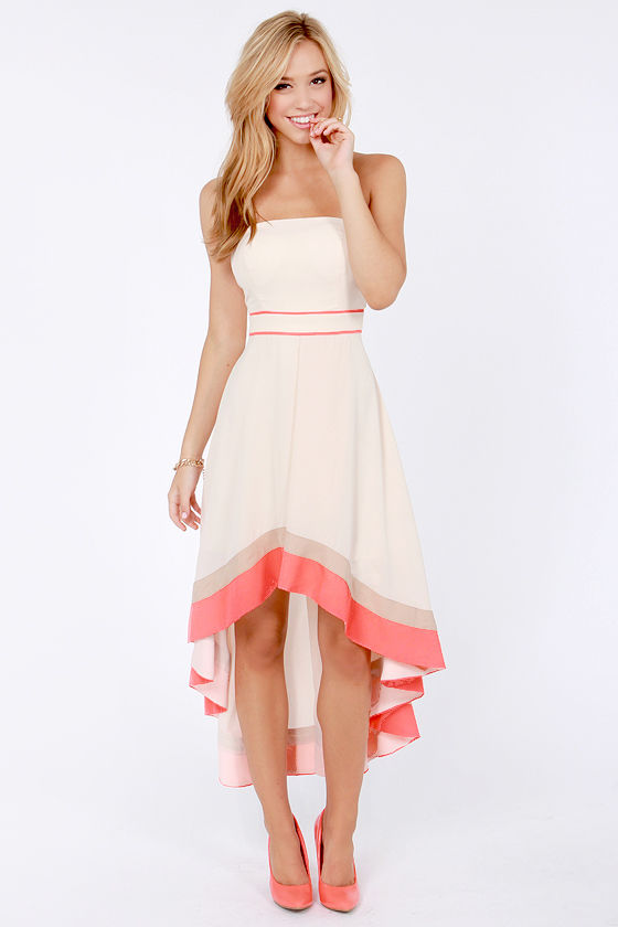 Gorgeous Cream Dress - Strapless Dress - Color Block Dress - $81.00