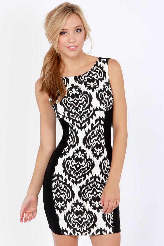 Sexy Black Dress Bodycon Dress Backless Dress Damask Dress