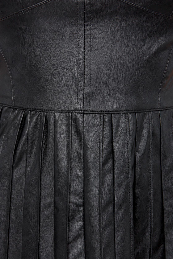 Mighty Pintucks Black Vegan Leather Dress at Lulus.com!