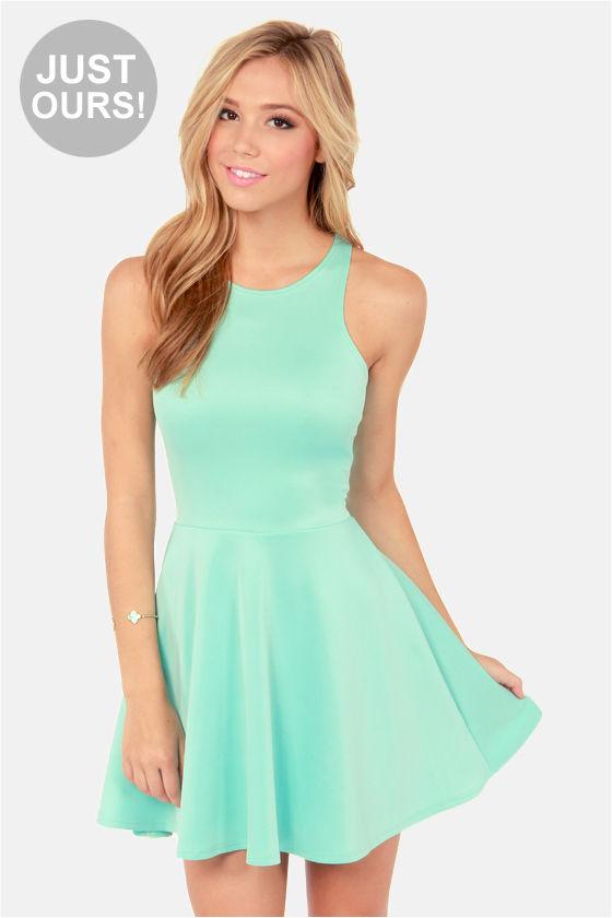 Cute Racer Back Dress Mint Green Dress Skater Dress