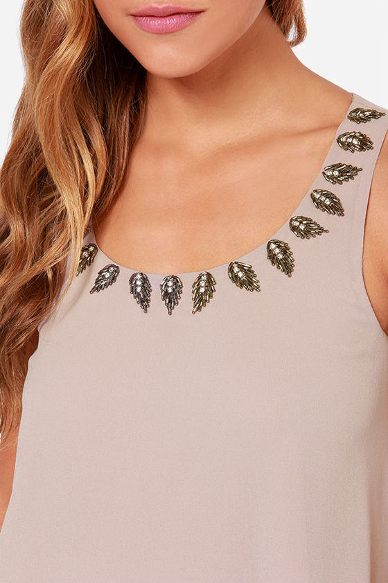 LULUS Exclusive Bead Me Up Beaded Taupe Dress at Lulus.com!