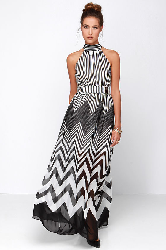 Cute Black Dress - Ivory Dress - Maxi Dress - Striped Dress - $87.00