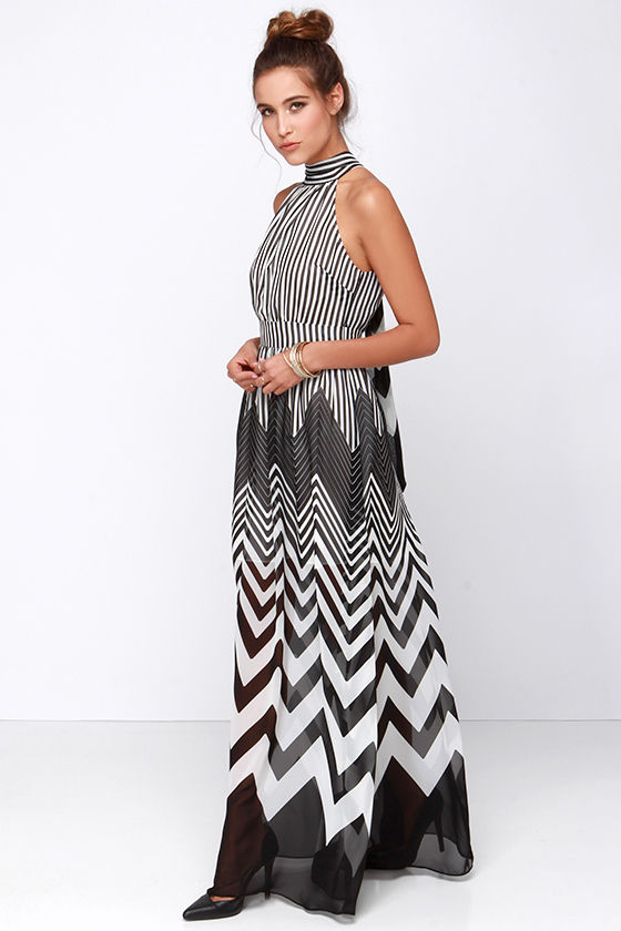 465fe62570eda Cute Black Dress - Ivory Dress - Maxi Dress - Striped Dress - $87.00