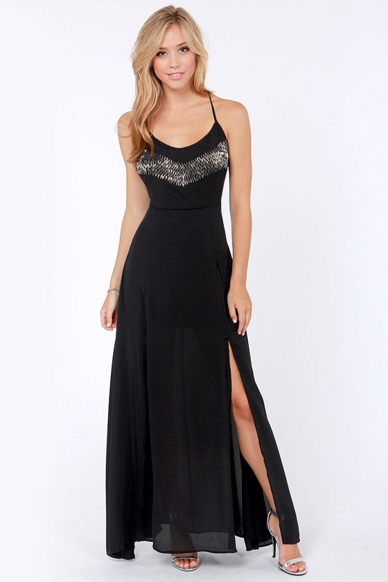 Get a Bead On Beaded Black Maxi Dress at Lulus.com!