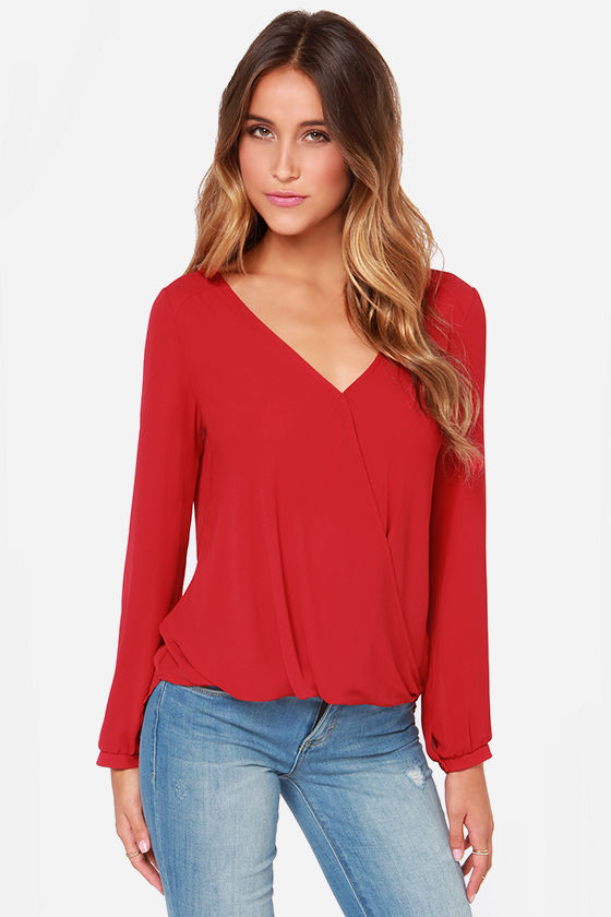 28f7a6f0745 Cute Red Blouse - Long Sleeve Top - Chiffon Top -  33.00