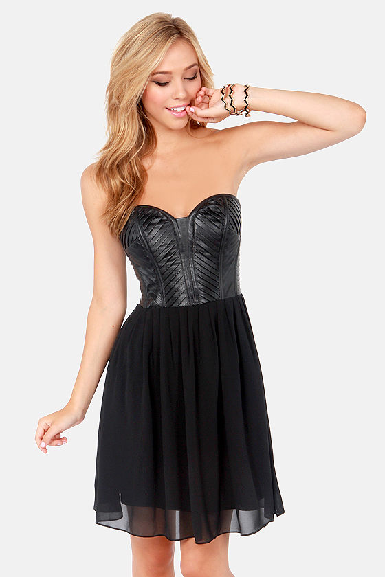 Tough as Leather Strapless Black Vegan Leather Dress at Lulus.com!