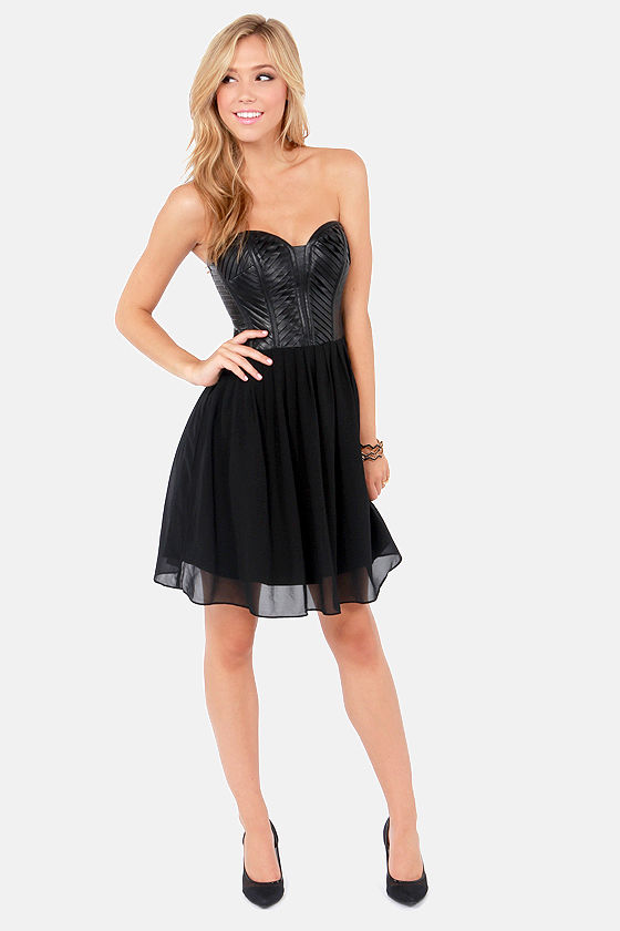 Sexy Black Dress - Vegan Leather Dress - Strapless Dress - $81.00