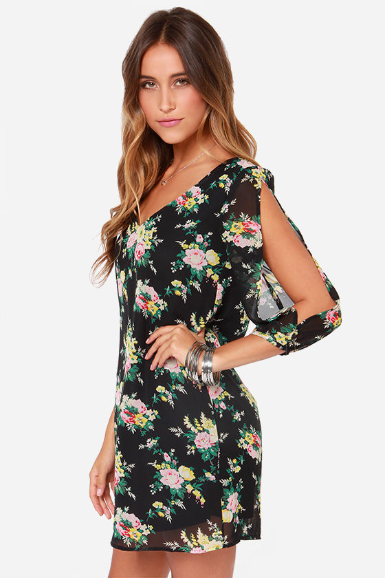 Bou-Crazy About You Black Floral Print Dress at Lulus.com!