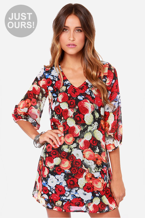 4ea3503e626c Floral Print Dress - Shift Dress - Long Sleeve Dress -  39.00