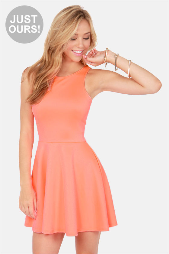 Cute Racer Back Dress - Neon Coral Dress - Skater Dress - $39.00