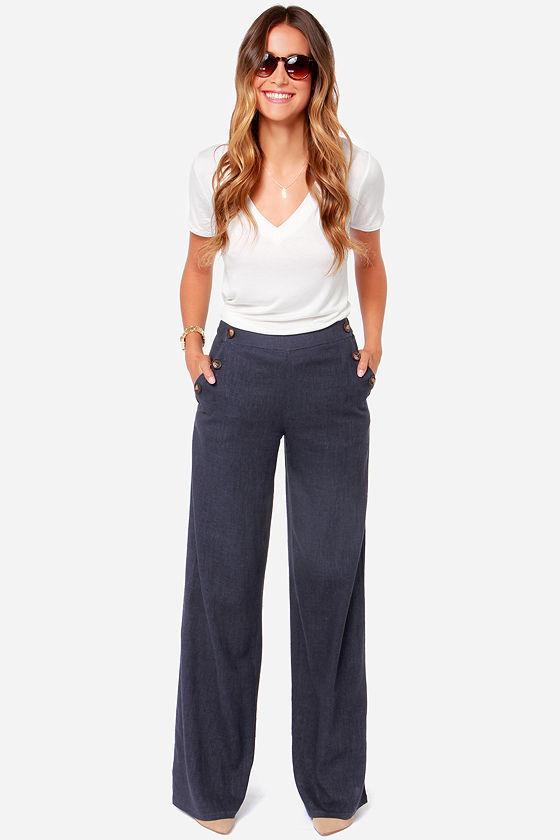 Wide Leg Pants - Navy Blue Pants - Sailor Pants - Linen Pants - $47.00