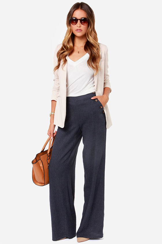 Wide Leg Pants - Navy Blue Pants - Sailor Pants - Linen -6639