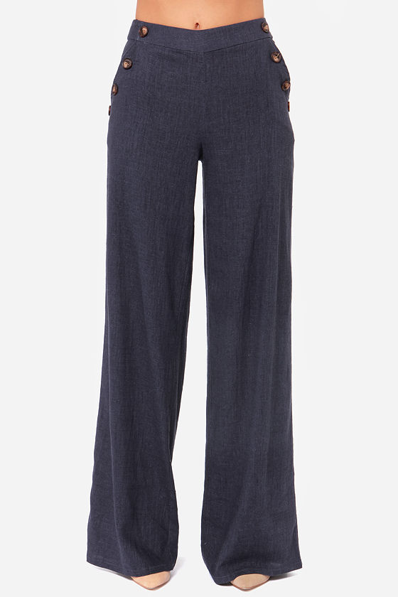Skyscraper Sweetie Navy Blue Linen Pants at Lulus.com!