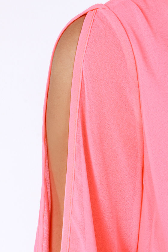 LULUS Exclusive Shifting Dears Neon Coral Long Sleeve Dress at Lulus.com!