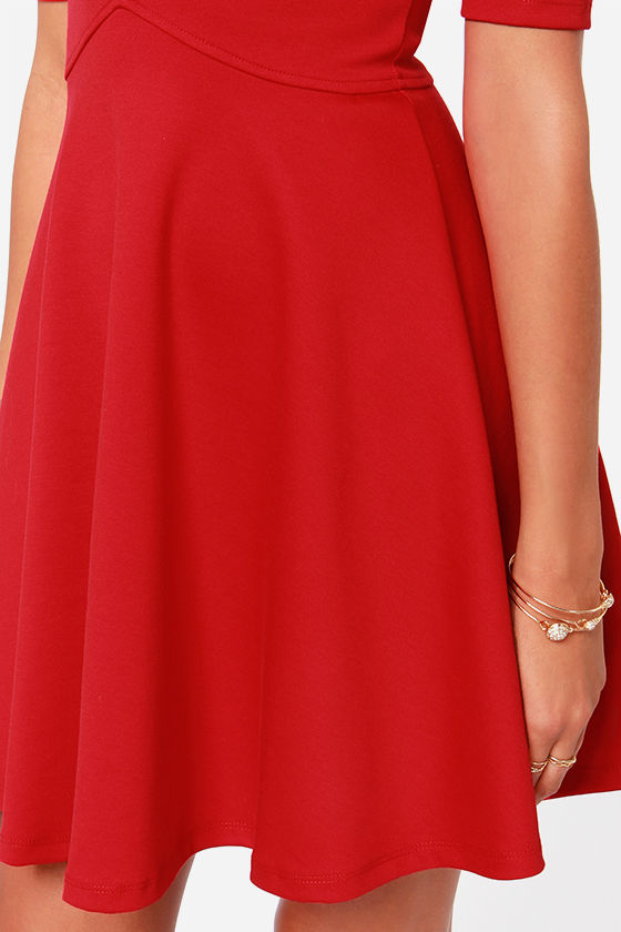 Black Swan Ocean Red Skater Dress at Lulus.com!